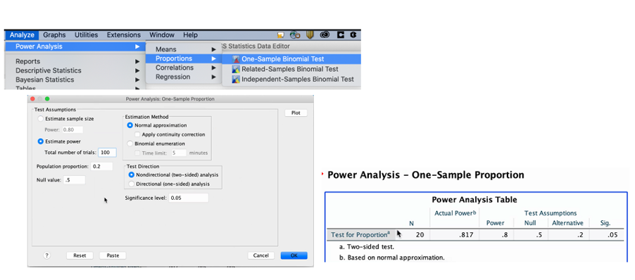 Power analysis in SPSS 27
